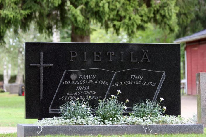 Hautakiven nimikaiverrukset on tehty kirjan aukeamaan. Tekstit on hiekkapuhallettu
